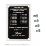 8N14001 Years:1948-52 Patent Data Plate With Drive Screws